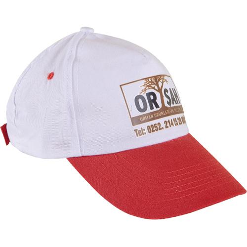 0302 Beyaz Şapka - Kırmızı Siperli